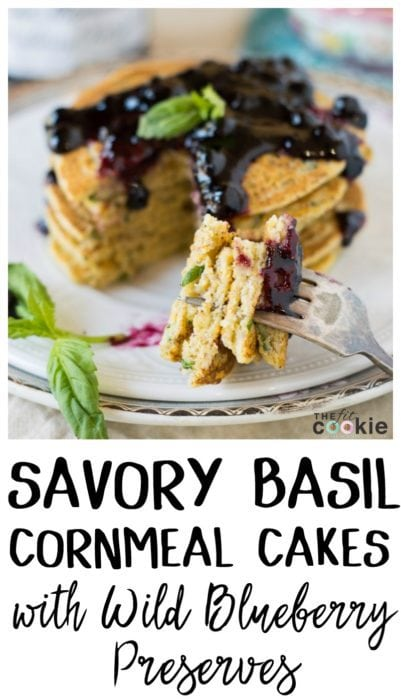 Savory Basil Cornmeal Cakes with Wild Blueberry Preserves