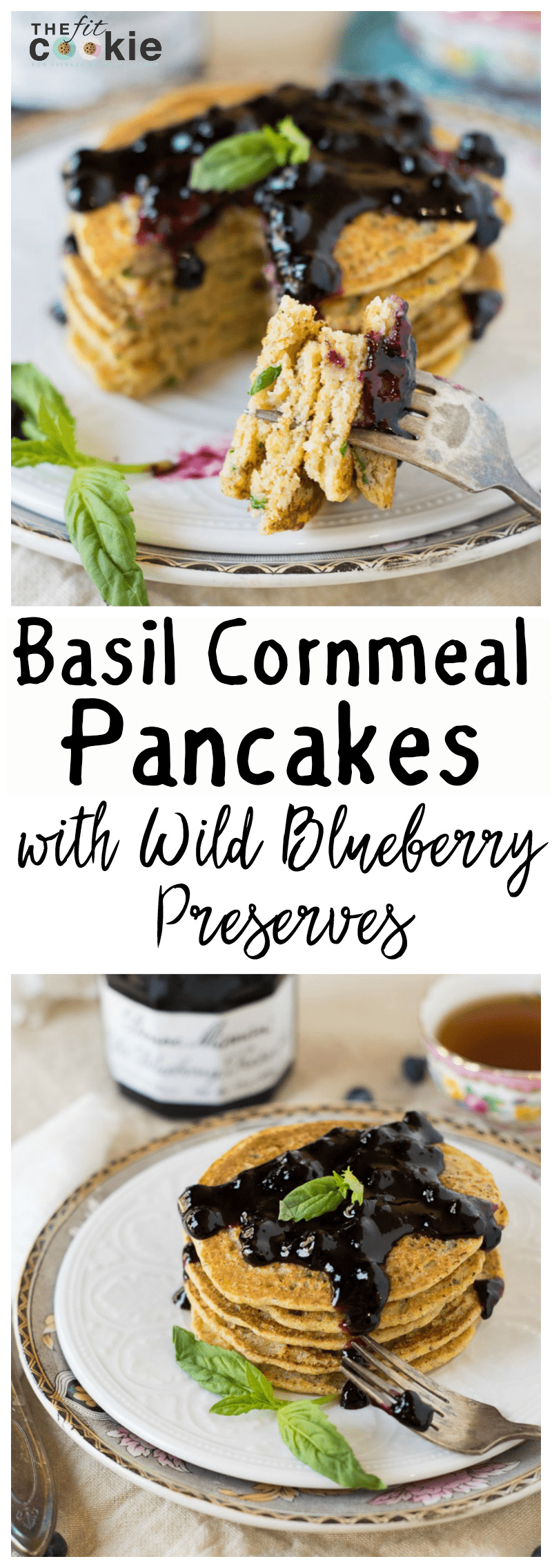 Looking for some fresh breakfast and brunch ideas? Make some Basil Cornmeal Pancakes with Wild Blueberry Preserves! The flavors blend beautifully in these gluten-free and vegan cornmeal pancakes - @TheFitCookie #AD @BonneMamanUS #BonneMaman #SayItWithHomemade