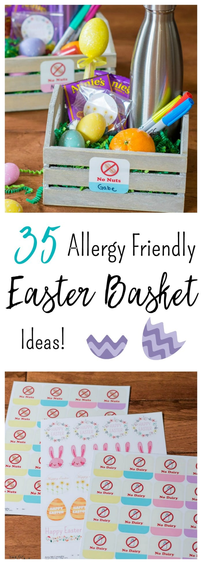 Looking for some creative Easter basket ideas for kids with food allergies? Here are 35 Easter basket ideas for kids of all ages, plus some cool food allergy labels from @StickerYou! - @TheFitCookie #sponsored by StickerYou
