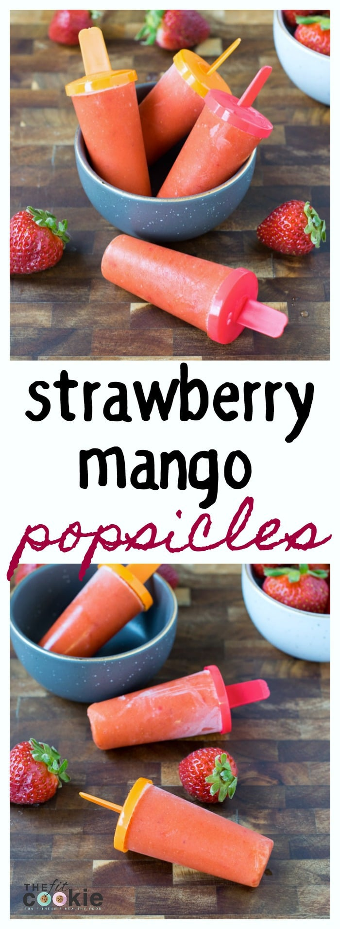 If you're looking for some healthy cool treats for summer, make these Strawberry Mango Popsicles - they only have 3 ingredients! Plus they are paleo and vegan, too - TheFitCookie.com