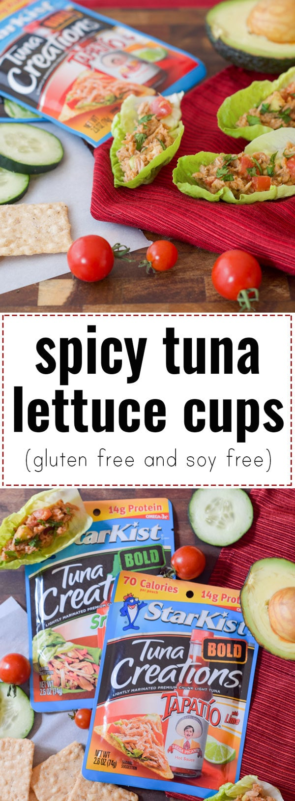 Spice up your lunchtime meals with these Spicy Tuna Lettuce Cups made with StarKist Tuna Creations BOLD Tapatío. These are gluten free, soy free, and nut free, so everyone can dig in! - #AD @TheFitCookie #TearEatGo