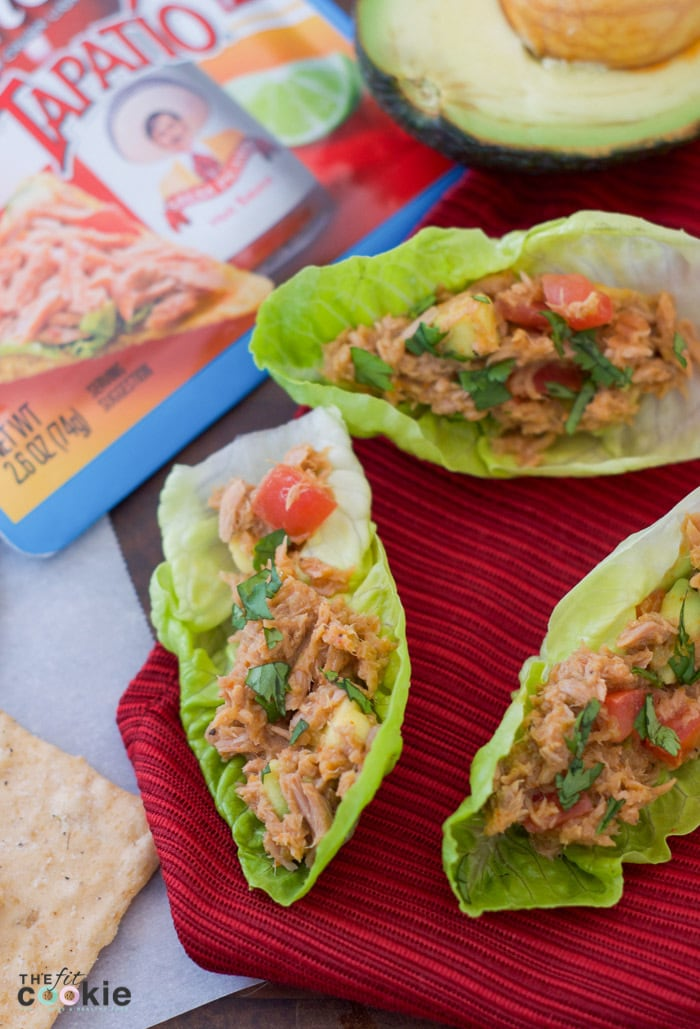 Spice up your lunchtime meals with these Spicy Tuna Lettuce Cups made with StarKist Tuna Creations BOLD Tapatío. These are gluten free, soy free, and nut free, so everyone can dig in! - #AD @TheFitCookie #TearEatGo | Starkist Tuna Creations BOLD tuna pouches with vegetables