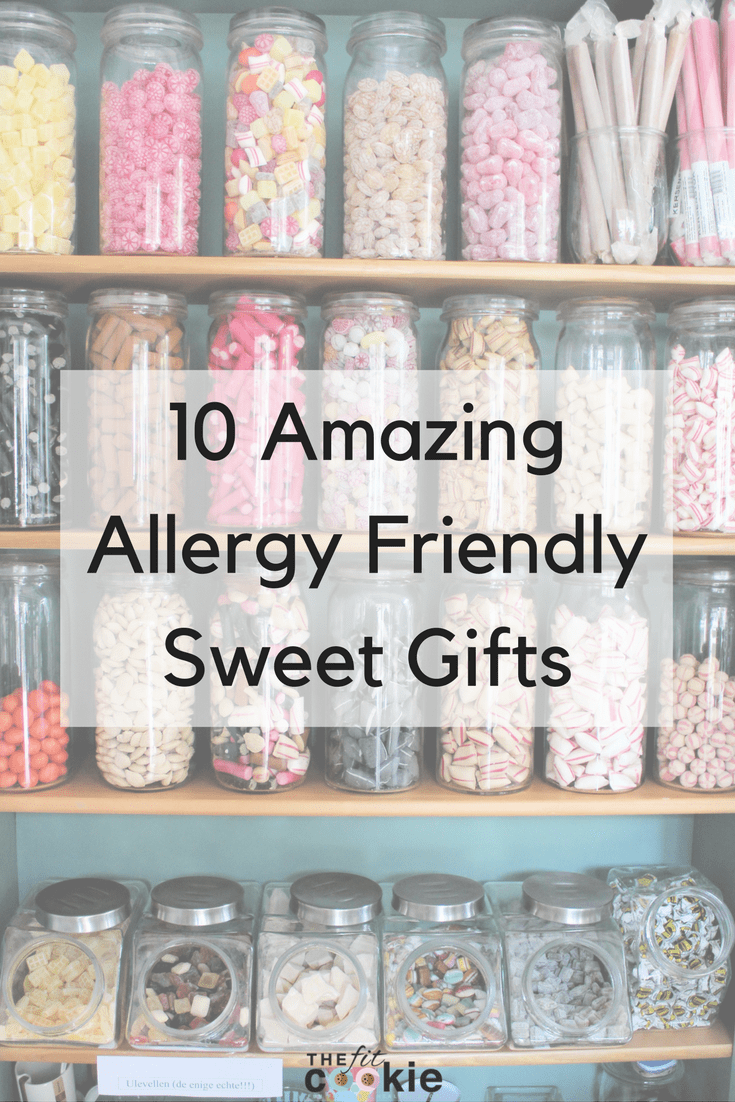 If you or your loved ones have food allergies, finding sweet treats for the holidays can be challenging. But don't worry, there are plenty of great companies that make treats for you. Here are 10 amazing allergy friendly sweet gifts you can safely give this season! - @TheFitCookie #allergyfriendly #glutenfree