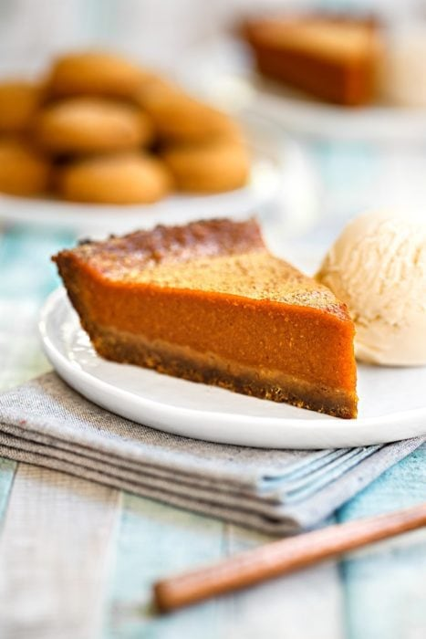 Gingerbread Pumpkin Pie (top 8 allergen free) for Thanksgiving or Christmas by Go Dairy Free