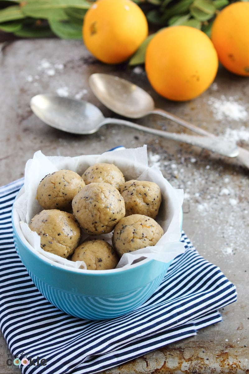 Pump up the protein in your snacks with these Orange Poppyseed Protein Bites! They are packed with dairy free protein, gluten free, no-bake, and ready in minutes - @TheFitCookie #dairyfree #vegan #healthy