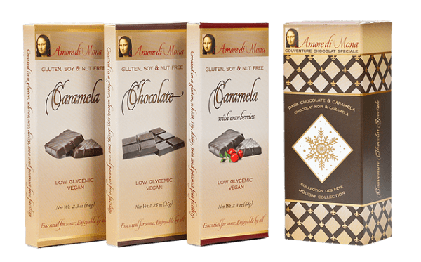 Amore di Mona chocolate and caramela | If you or your loved ones have food allergies, finding sweet treats for the holidays can be challenging. But don't worry, there are plenty of great companies that make treats for you. Here are 10 amazing allergy friendly sweet gifts you can safely give this season! - @TheFitCookie #allergyfriendly #glutenfree