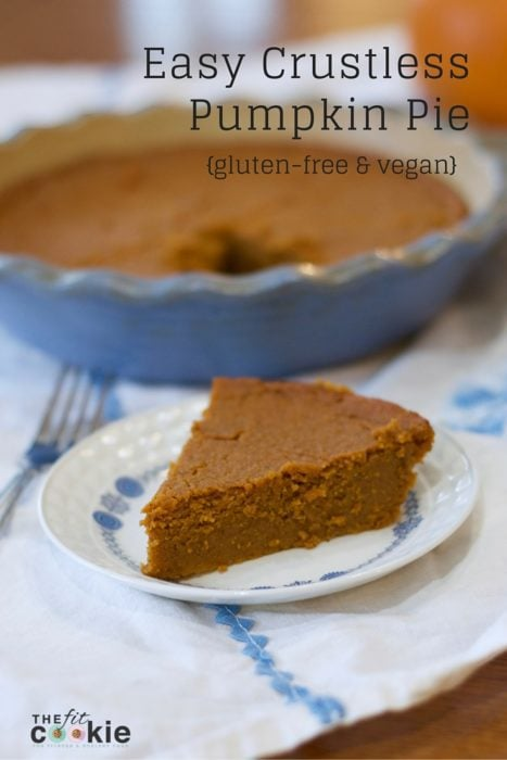 Easy Crustless Pumpkin Pie for Thanksgiving or Christmas by The Fit Cookie