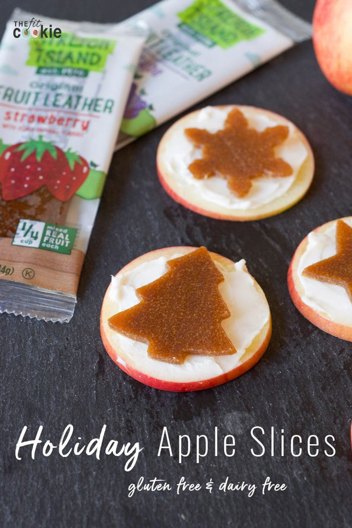 If you're looking for a healthier snack during the holidays, these simple Holiday Apple Slices are perfect! They are easy to make, made with dairy-free cream cheese, and are gluten free - #AD @TheFitCookie #StretchIsland #IC #glutenfree #vegan #dairyfree