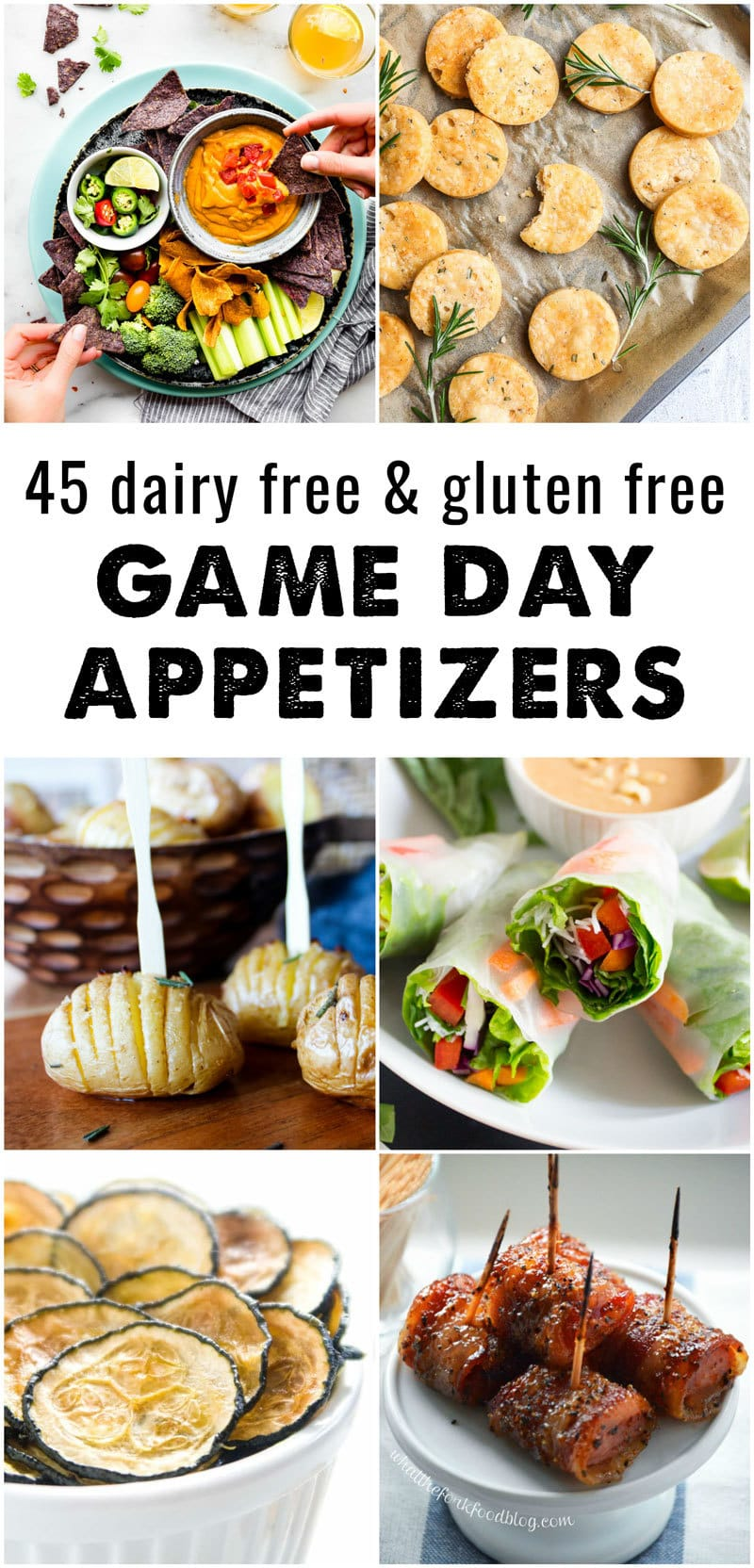 Gearing up for your next sports party? We've got you covered for allergy friendly party foods with this roundup of 45 dairy free and gluten free game day recipes! Every recipe in this roundup is dairy free and gluten free, with plenty of vegan, paleo, nut-free, and low carb recipe options to choose from - @TheFitCookie #superbowl #snacks #appetizers