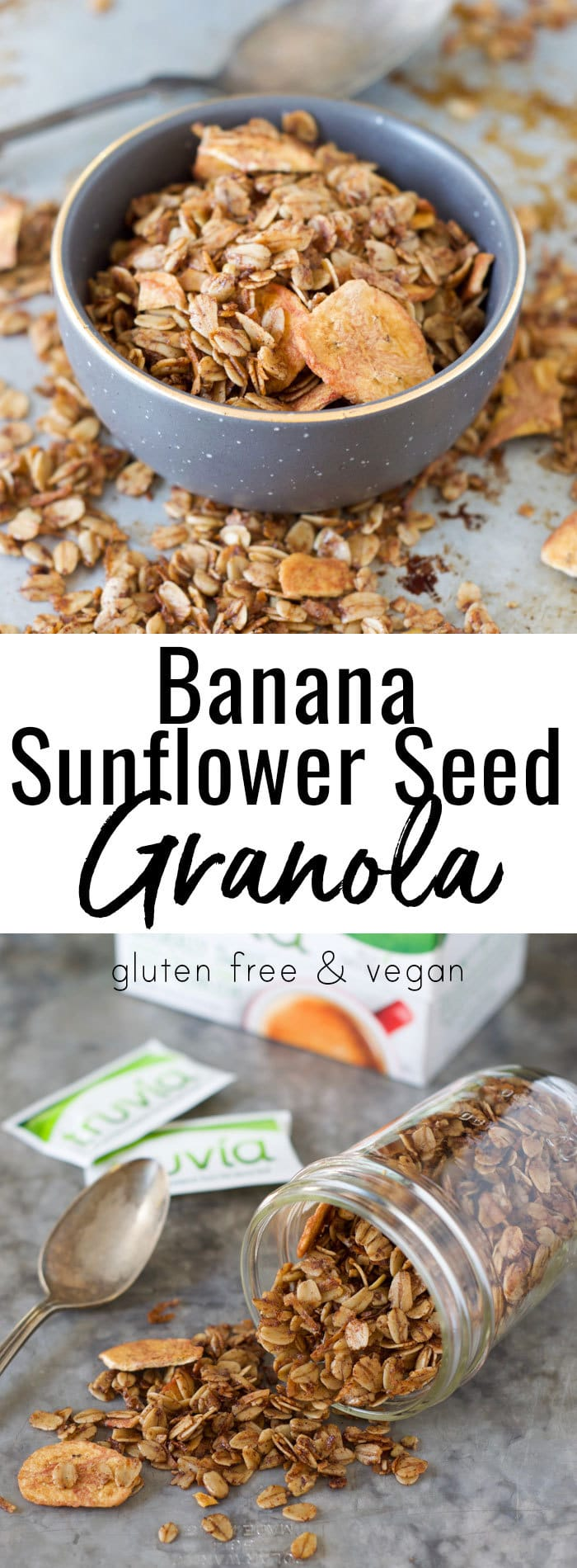 Looking for a great meal prep breakfast recipe that's lower in sugar and allergy friendly? Make this gluten free and vegan Banana Sunflower Seed Granola recipe on Sunday and have it for breakfast and snacks the rest of the week! - #AD @Truvia #PickNaturesSweetness #Cbias @TheFitCookie