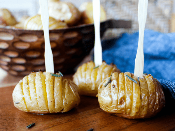 Garlic Rosemary Baby Hasselback Potatoes by The Whole Cook