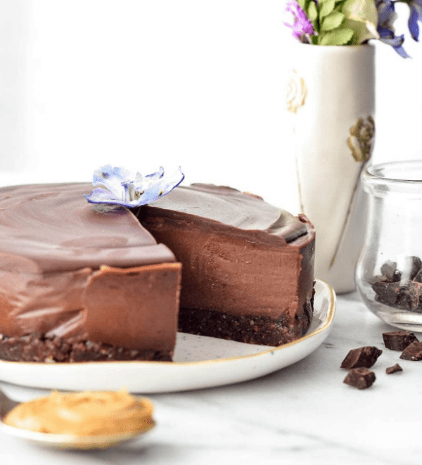 No Bake Vegan Chocolate Peanut Butter Cheesecake by Joy Food Sunshine