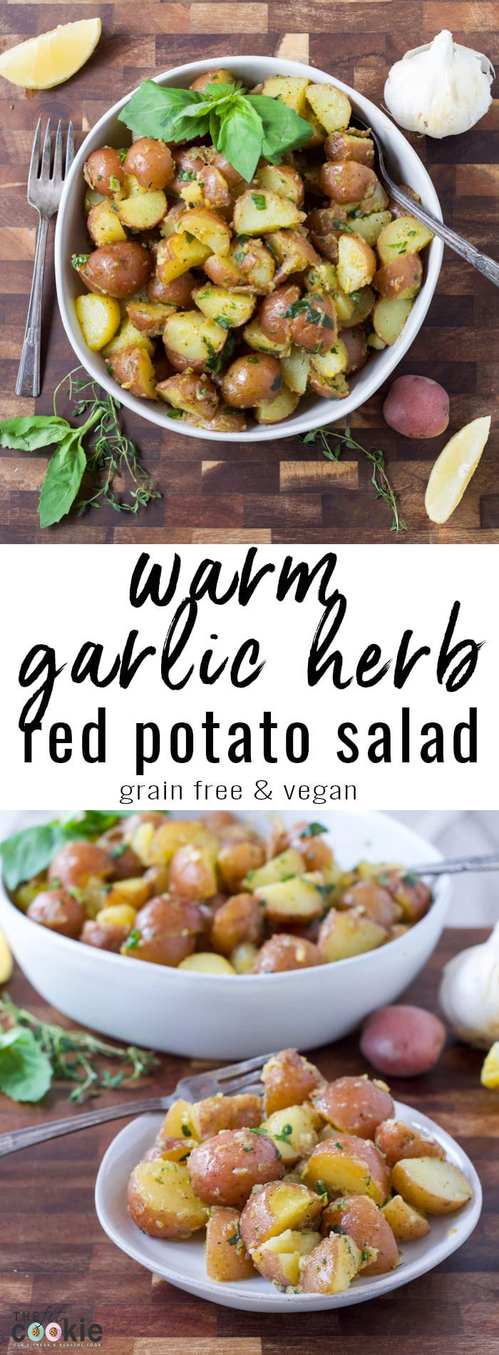 Make a healthier potato salad that's great any time of year! This Warm Garlic Herb Red Potato Salad is perfect as an allergy friendly side dish for any occasion, and looks impressive as a dinner party side dish. This recipe has no mayo and is also grain free, gluten free, dairy free, egg free, and vegan. - #AD #Potatoes @TheFitCookie #glutenfree #nomayo #vegan #CLVR