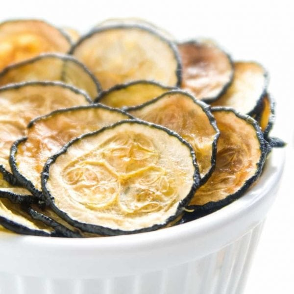Healthy Baked Zucchini Chips by Wholesome Yum
