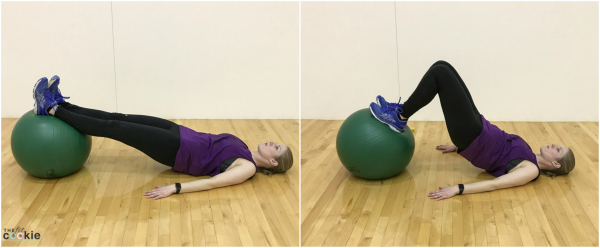 Stability ball hamstring curl exercise