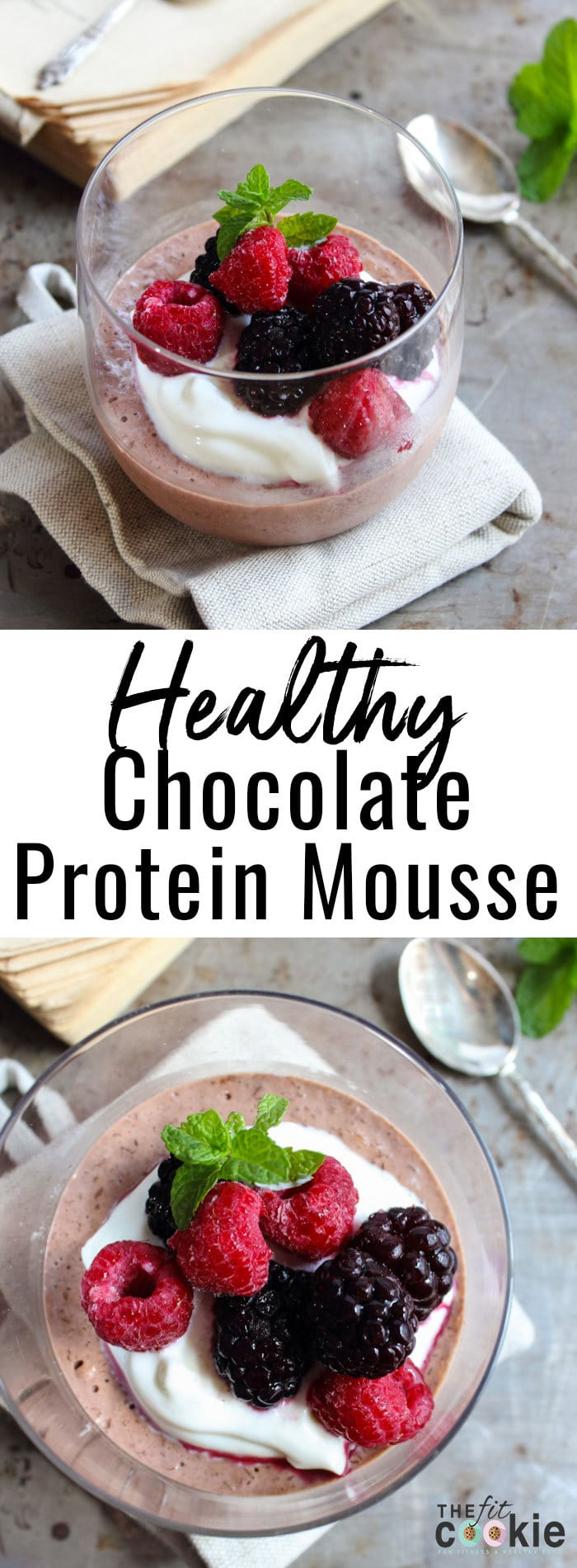 Healthy Chocolate Protein Mousse: creamy, non-dairy chocolate mousse that you can fully indulge in without the guilt! Perfect for a healthier dessert or snack - @TheFitCookie #glutenfree #dairyfree #vegan