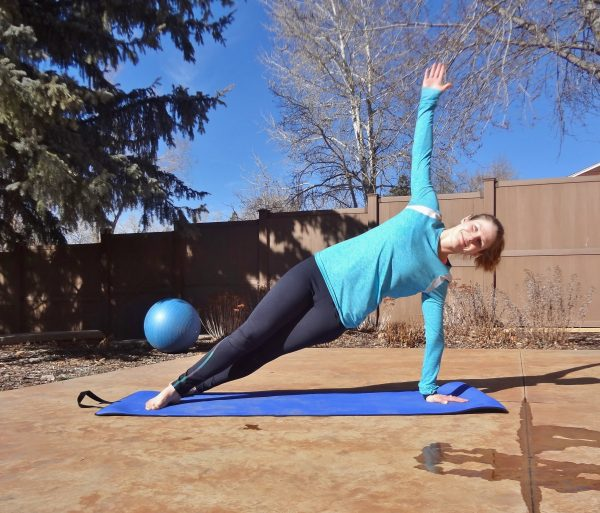 Side plank pose. Yoga is amazing for opening tight hips, but can also be problematic if you have joint problems. Here are some tips for safely doing yoga with FAI hip impingement - @TheFitCookie #fitness #yoga