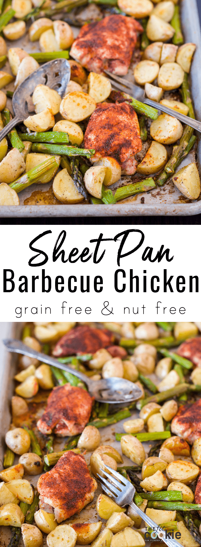 Looking for a healthy and easy weeknight dinner? Make this delicious Sheet Pan Barbecue Chicken with Potatoes and Asparagus for a complete meal ready in under 40 minutes - @TheFitCookie #grainfree #chicken #dairyfree