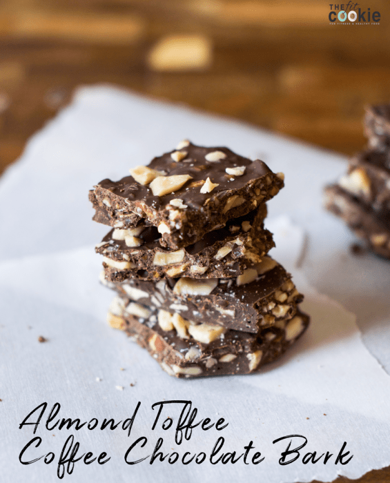 Almond Toffee Coffee Chocolate Bark (Vegan)