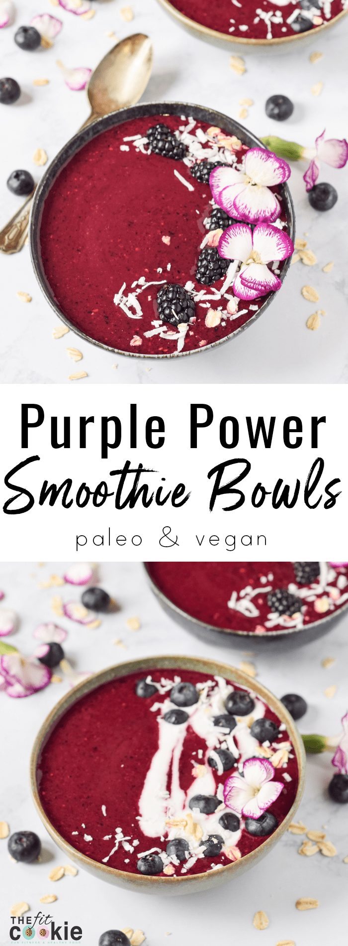 If you're excited about smoothies, this recipe is for you: I made the Purple Power Smoothie Bowls from Lindsay Cotter's new book Nourishing Superfood Bowls and I'm sharing the recipe with you! They are vegan, paleo, allergy friendly, and beautiful - @TheFitCookie #ad #smoothie #vegan #paleo #nourishingbowls