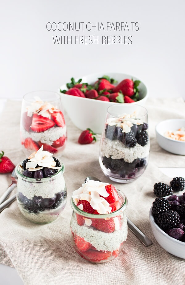 Coconut Chia Parfaits with Fresh Berries by Pass Me Some Tasty