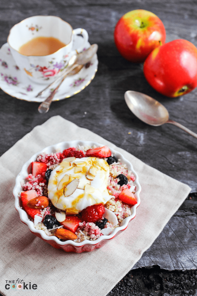 gluten free mixed berry breakfast couscous with almonds and yogurt