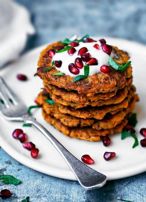 Vegan Spicy Sweet Potato Pancakes by Occasionally Eggs