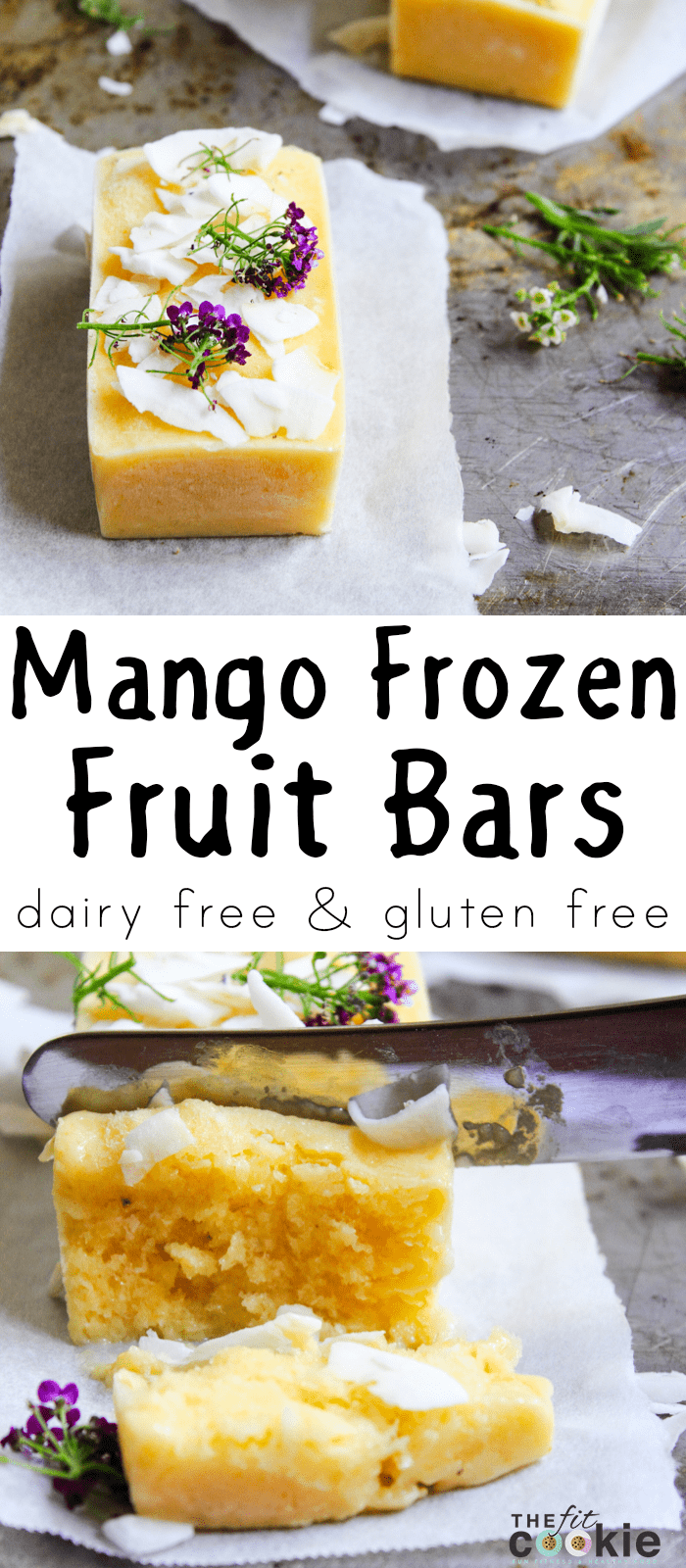 Cool off this summer with these tasty Mango Frozen Fruit Bars, they're creamy, sweet, and made with only 4 healthy ingredients. They are the perfect treat to brighten ANY hot day! - @TheFitCookie #frozendessert #dairyfree #glutenfree