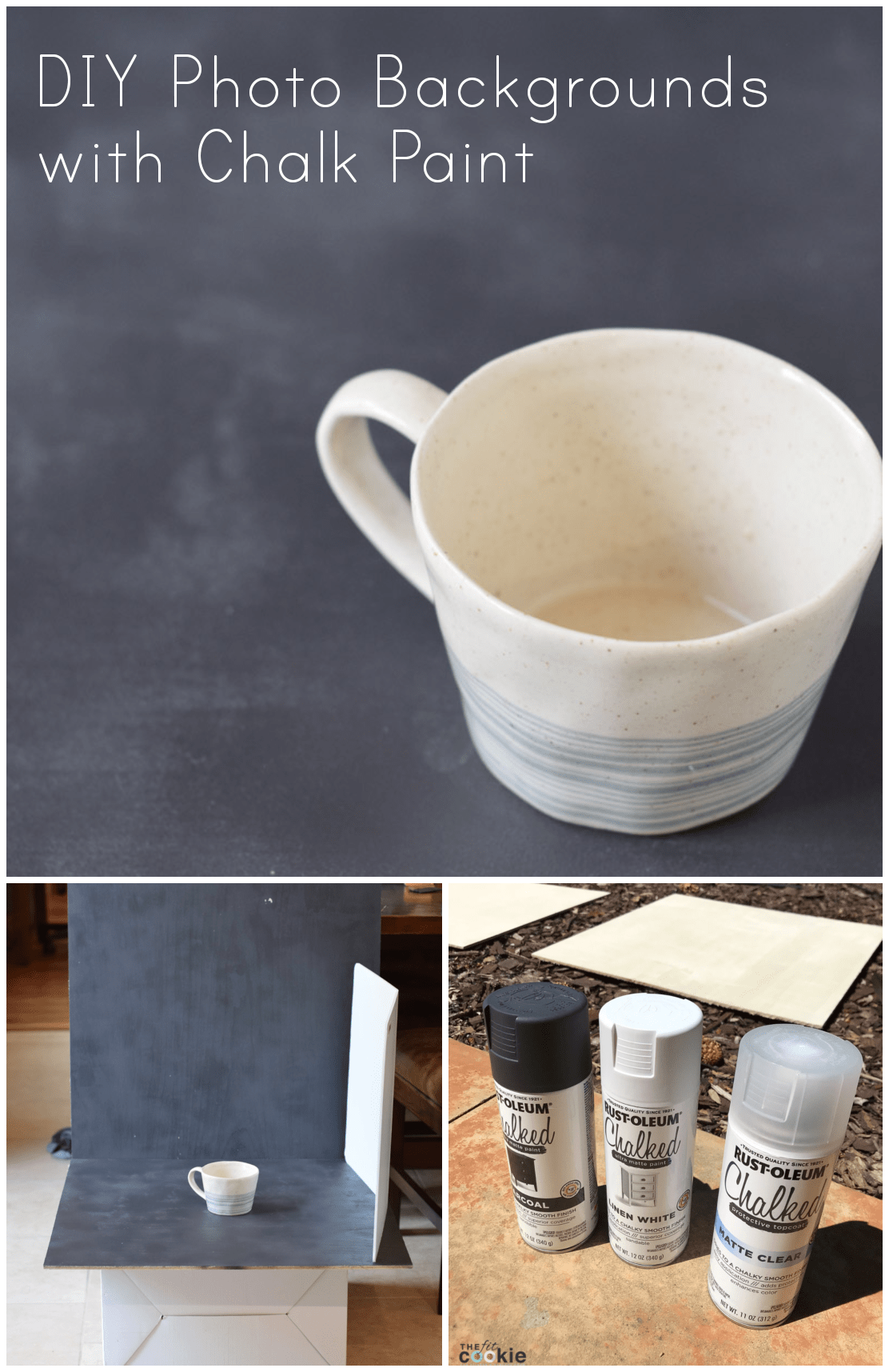 If you're a food blogger on a budget, then finding great backgrounds can be tough. But no worries: you can make your own beautiful and budget-friendly photo backgrounds with chalk paint! - @TheFitCookie #DIY #photography #chalkpaint