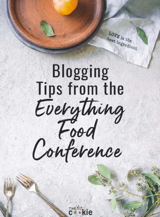 "cooking and food flatlay with text overlay ""blogging tips from the everything food conference"""