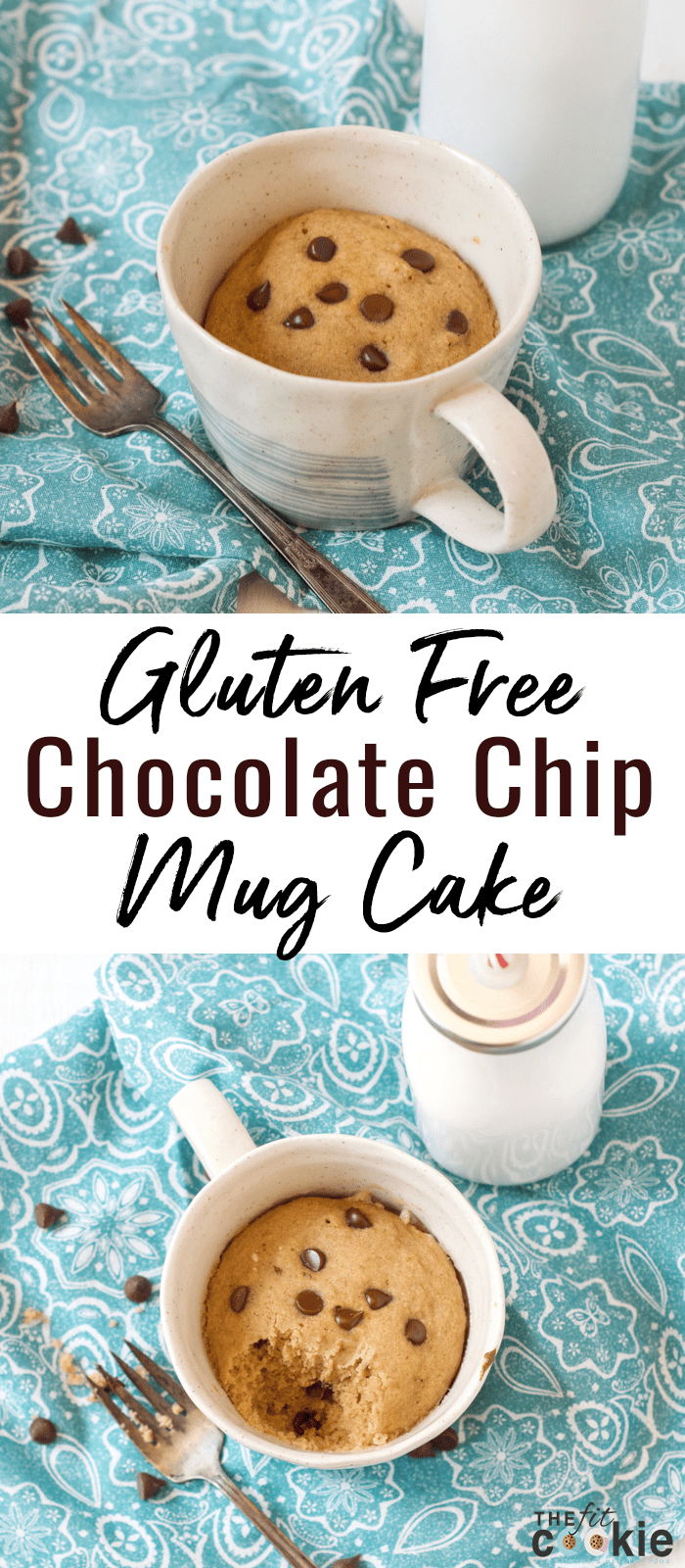 Bake a delicious cake without turning on your oven! This little gluten free Chocolate Chip Mug Cake is perfect for one (or two if you want to share!). This mug cake is not only gluten free, it's also dairy free, vegan, and nut free - @TheFitCookie #glutenfree #vegan #cake