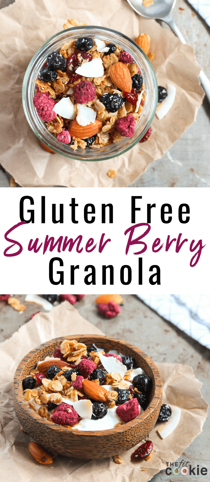 This Gluten Free Summer Berry Granola is sweet, crunchy, and tastes a little like cookies to brighten your morning! It can also be made nut free. - @TheFitCookie #glutenfree #dairyfree #granola