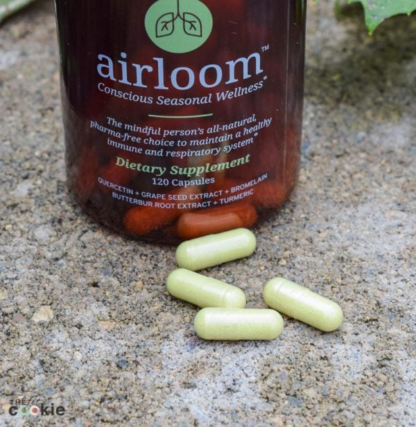 airloom seasonal wellness supplement on a concrete block