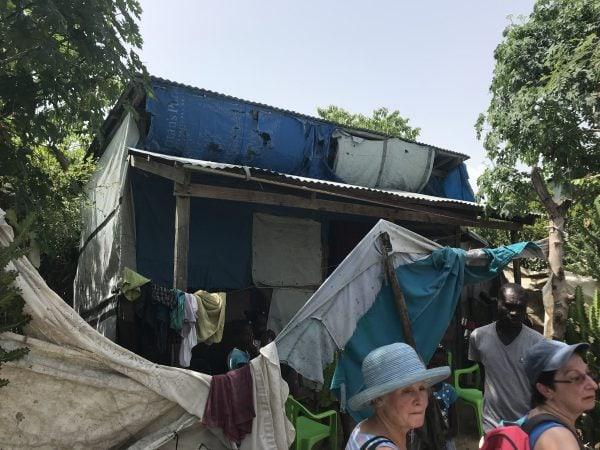 tarp shack in the cholera neighborhood in Bercy, Haiti