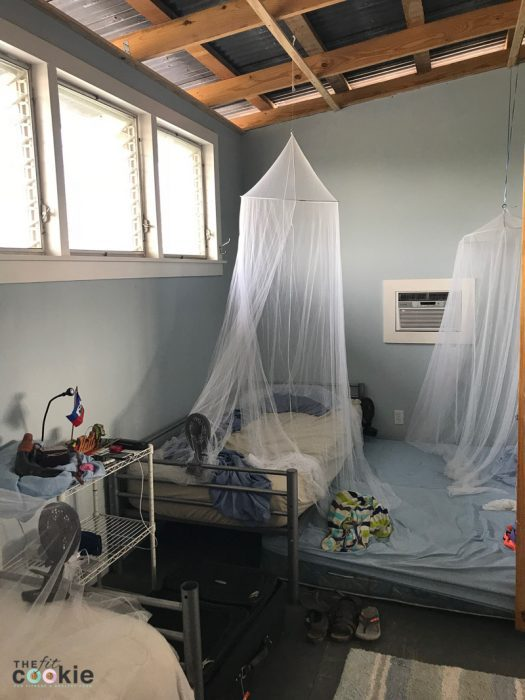 mosquito nets over our beds in our housing in Haiti