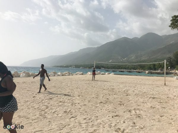 view of the beach, ocean, and mountains at Wahoo Bay resort in Haiti