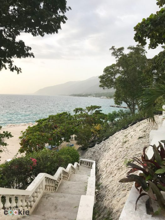 photo of steps leading down to the beach at Wahoo Bay resort in Haiti
