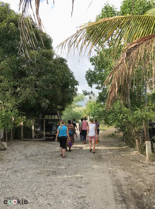 our mission team walking through a neighborhood in Bercy, Haiti