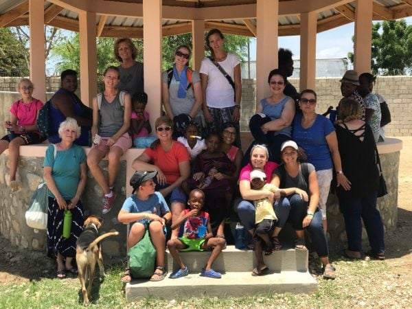 our missions team in a gazebo at the Cabaret Childrens home in Bercy, Haiti