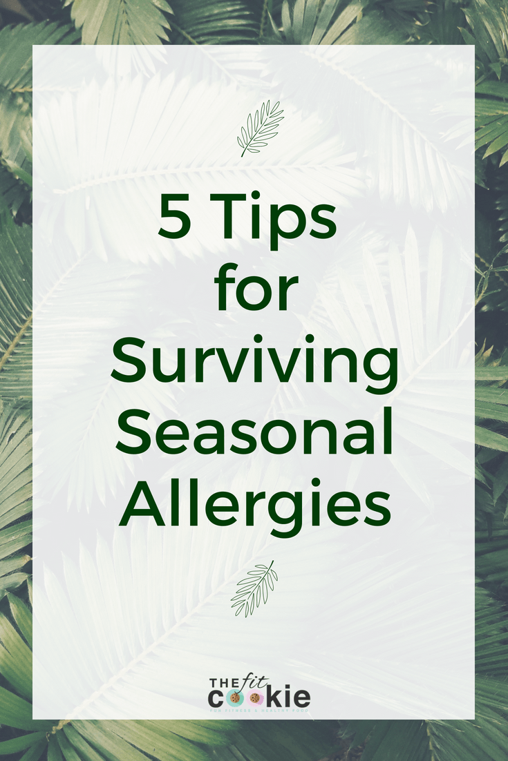 "image of palm leaves with text overlay saying ""5 tips for surviving seasonal allergies"""