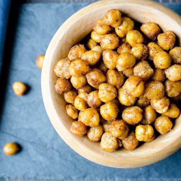 Crispy Spiced Chickpeas (gluten free, dairy free, nut free) - Garlic and Zest