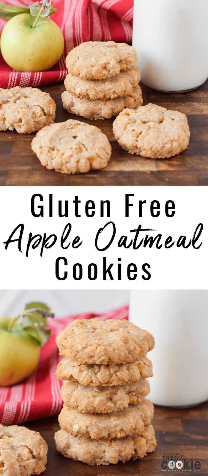 image collage of gluten free dairyfree apple oatmeal cookies next to an apple