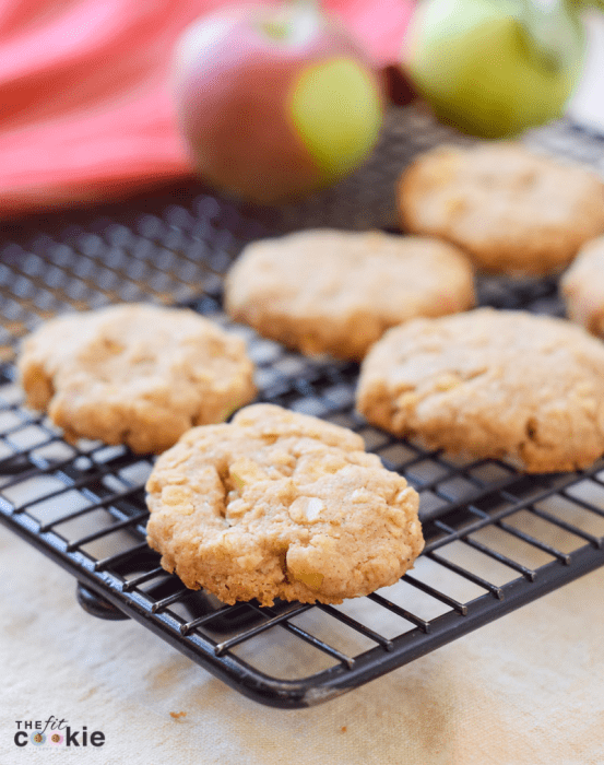 gluten free dairy free apple oatmeal cookies on a black cooling rack