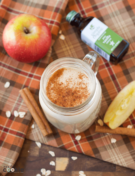 overhead photo of dairy free gluten free apple pie smoothie in a canning jar glass