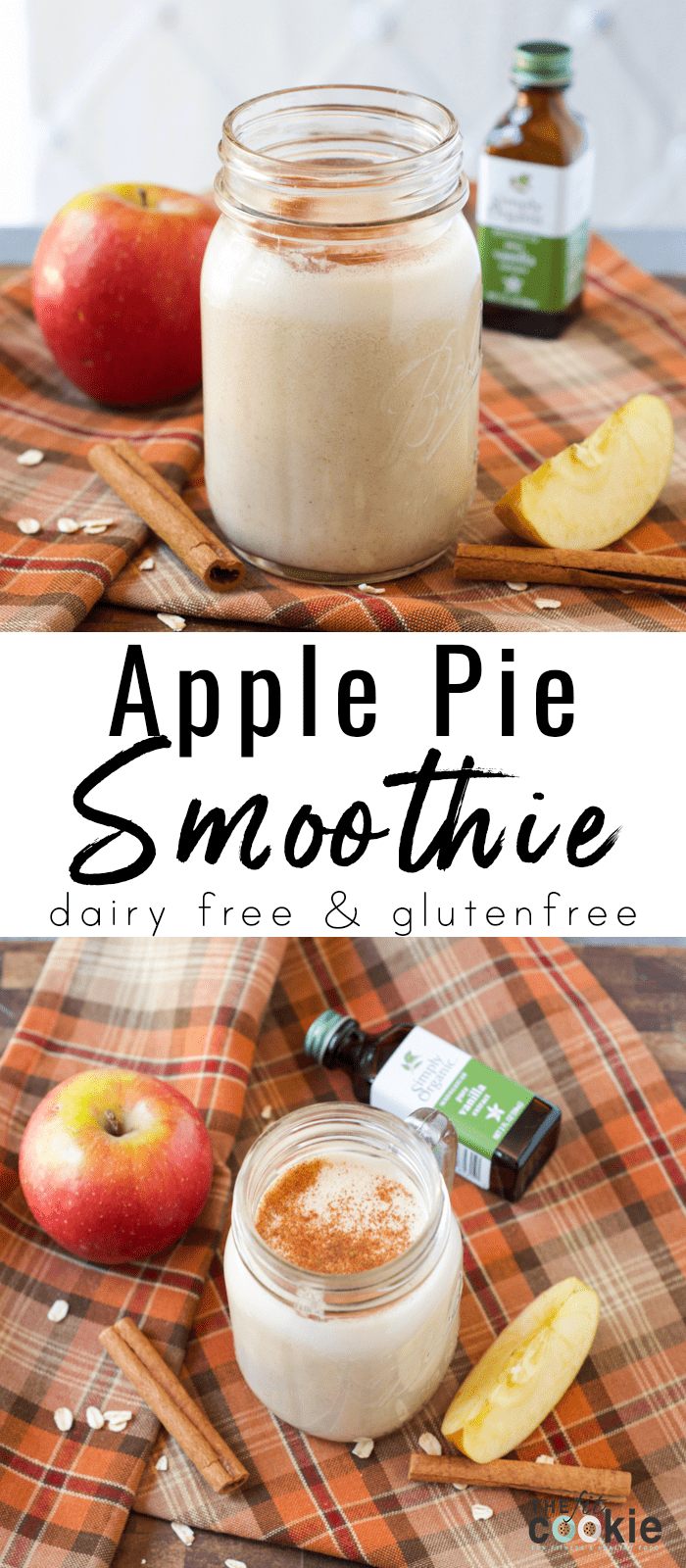 image collage of vegan gluten free apple pie smoothie in a canning jar