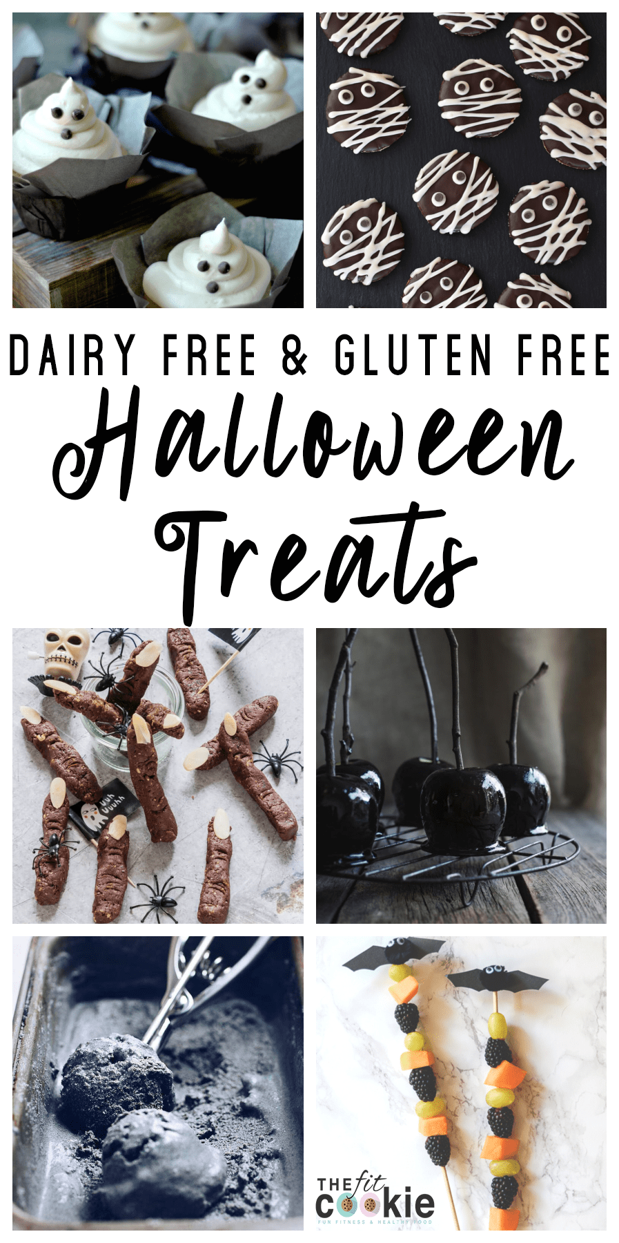 image collage of various dairy free and gluten free Halloween treats