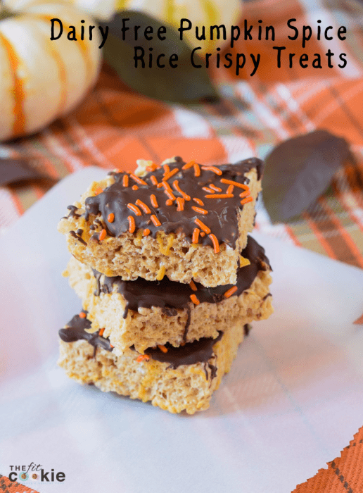 stack of chocolate covered dairy free gluten free pumpkin spice rice crispy treats