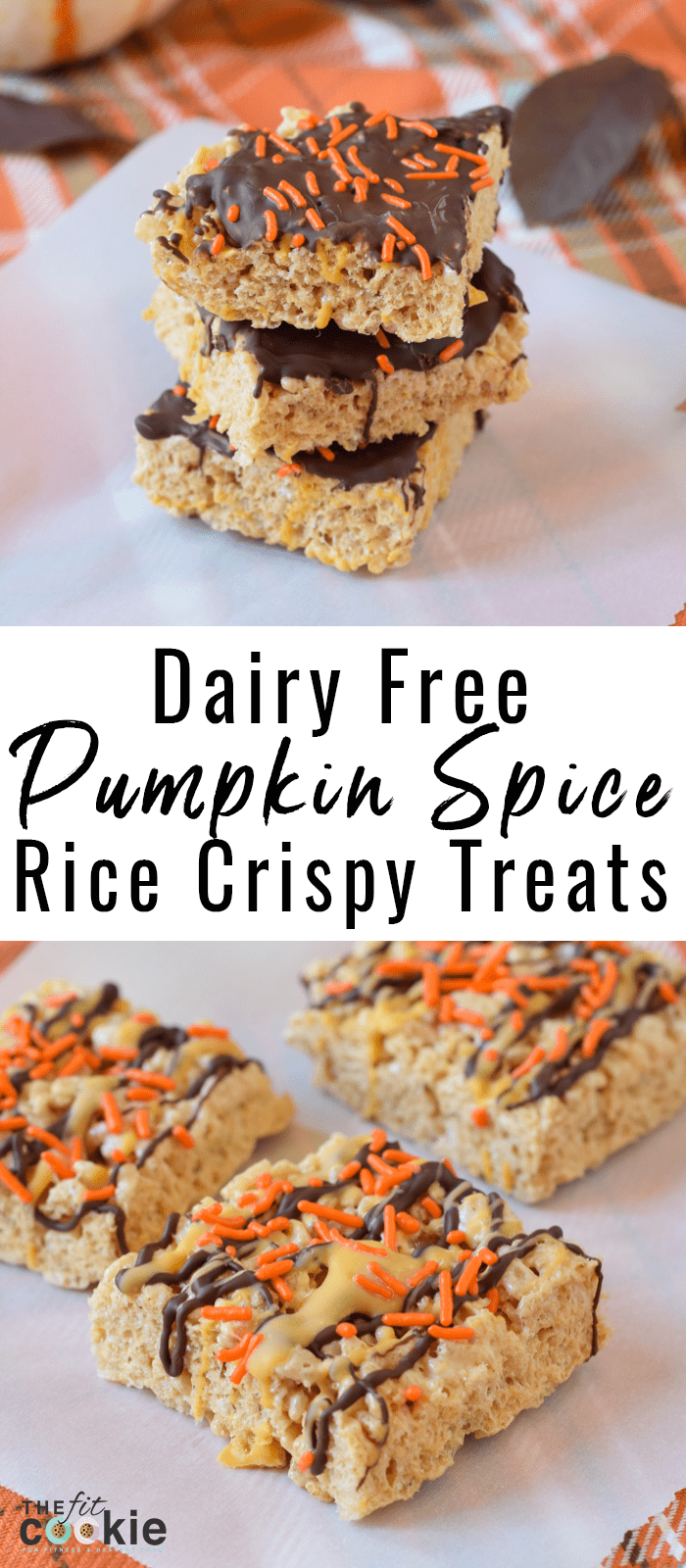 image collage of dairy free gluten free pumpkin spice rice crispy treat with orange spinkles