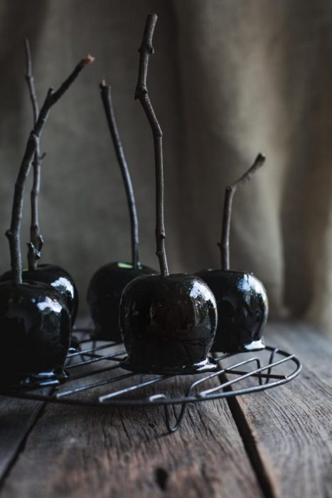Dairy free and gluten free Deliciously Dark Halloween Apples by My Goodness Kitchen - black candy apples