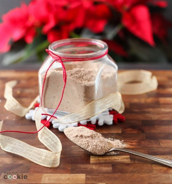 gluten free vegan cappuccino mix in a jar and on a spoon